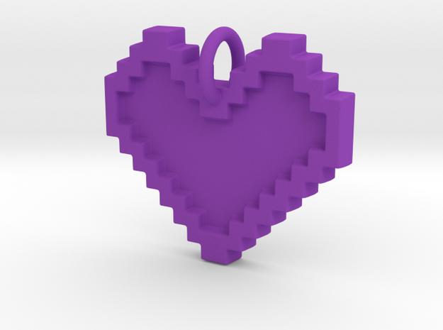 8-bit Heart - 29 cm in Purple Strong & Flexible Polished