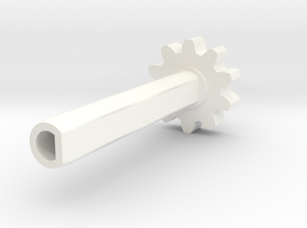 TM02 Shaft Geared V1 in White Processed Versatile Plastic