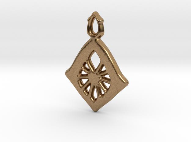 Diamond Web Pendant in Natural Brass: Small