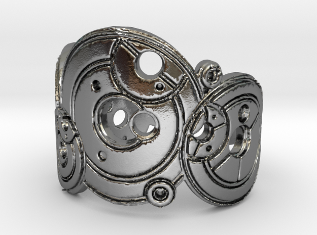 Dr. Who Gallifreyan Inversed Ring in Polished Silver