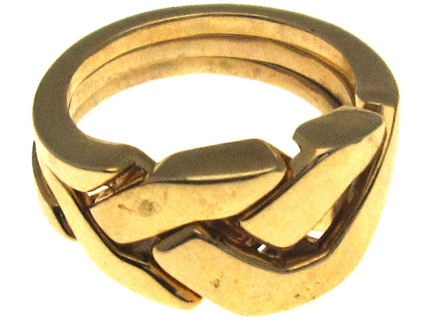 OoO Ring - Interlocking Metal in Polished Brass (Interlocking Parts)