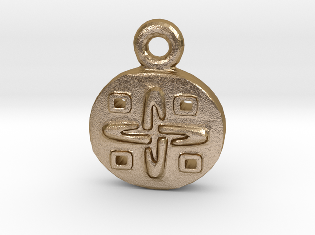 Aztec Gold-Design Pendant in Polished Gold Steel