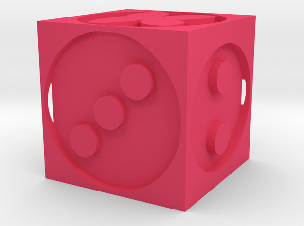 Butterfly dice in Pink Processed Versatile Plastic