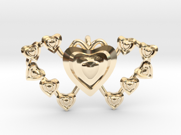 Valentine's 2 hearts Pendant in 14k Gold Plated