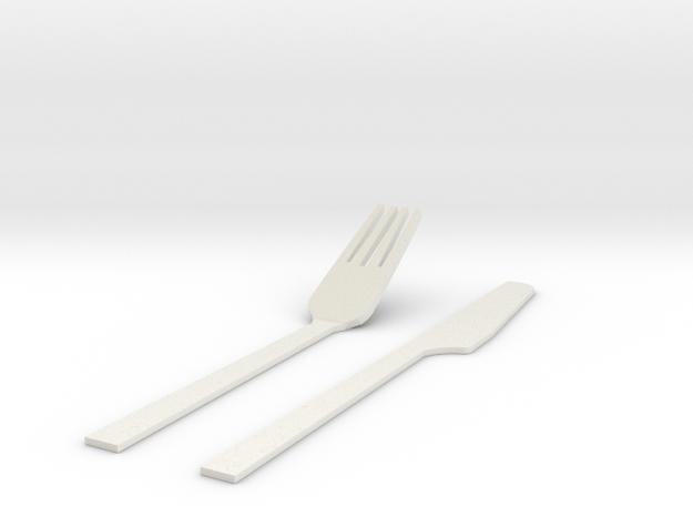 刀叉.stl in White Strong & Flexible