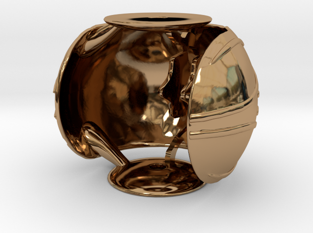 Golden Snitch Ring Box with Wings (Back) in Polished Brass