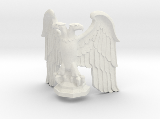 Eagle: Corner Statue with Base v1 in White Strong & Flexible