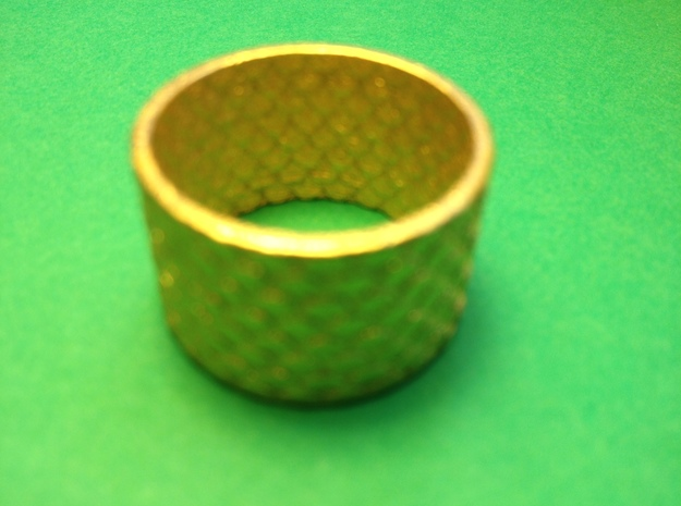 Pine Cone Ring, Size 7.5/22 mm 3d printed Pine cone ring in gold plated steel