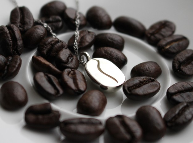Coffee Bean Pendant in Polished Silver