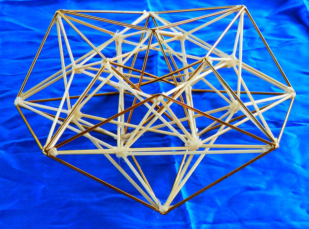 Metatron's Compass 100mm -4D Vector Equilibrium 3d printed Original handmade model in brass and wood