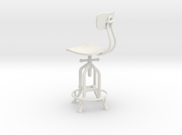1:12 Industry Stool in White Strong & Flexible