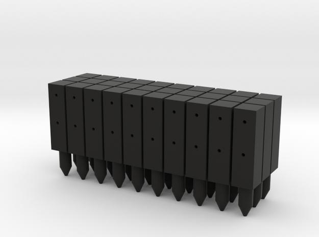 BP1-30, Square Cable Barrier Posts, 30 pcs in Black Natural Versatile Plastic