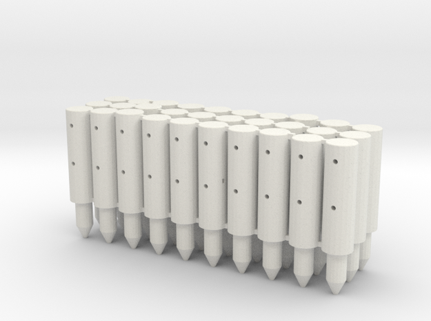 BP2-30, Round Cable Barrier Posts, 30 pcs in White Natural Versatile Plastic