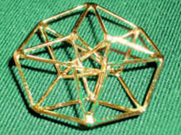 Toroidal Hypercube 50mm 2mm Time Traveller 3d printed DEMO in Handmade Gold Plated Siver version (not Shapeways)
