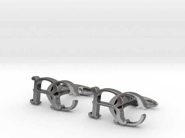 Monogram cufflinks 'RC' in Premium Silver