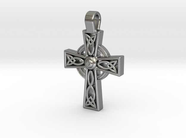 Celtic Cross Pendant in Natural Silver