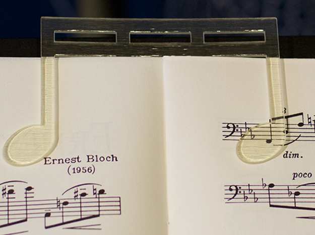 Music Book Page Holder/Clip With Custom Text in White Natural Versatile Plastic
