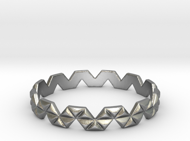 Trigonal Ring (size 4-13) in Natural Silver: 7 / 54