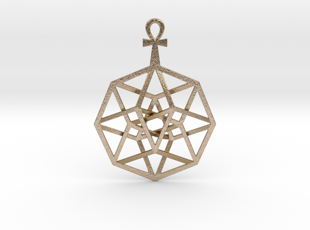 TesserAnkh Pendant in Polished Gold Steel