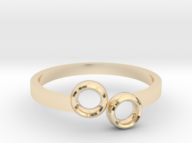 Double Circle Ring in 14k Gold Plated Brass: 5.5 / 50.25