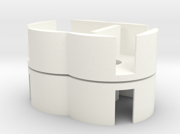 D6 Holder - Expanded (pair) in White Processed Versatile Plastic