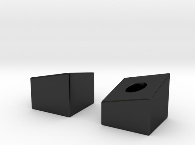 Topographic Menorah - 1  in Matte Black Porcelain