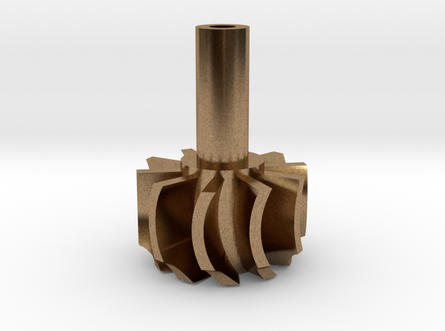 TurboKeychains_TK10-R_Turbine-10-Blade-SHF in Natural Brass