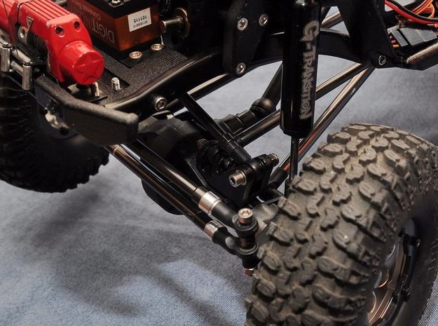 3D printed Panhard Mount for Scx Axle in Black Strong & Flexible