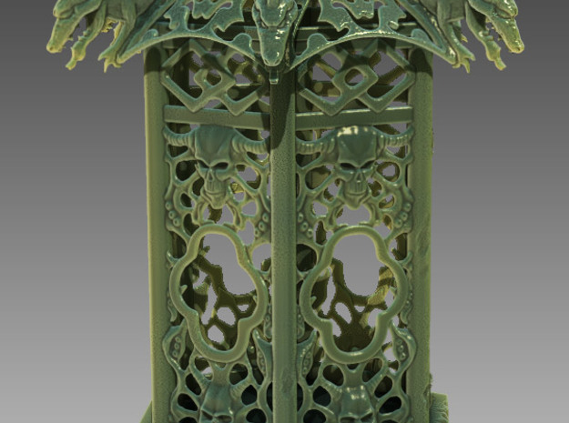 Lantern 5 inch 3d printed 3D render of lantern as if carved from jade.