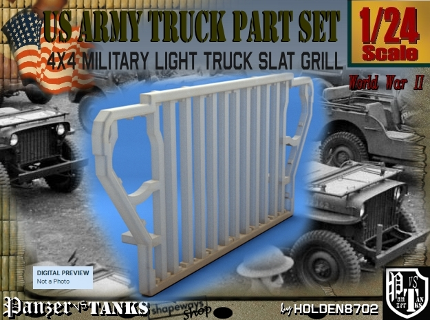 1-24 World War II US 4x4 Slat Grill