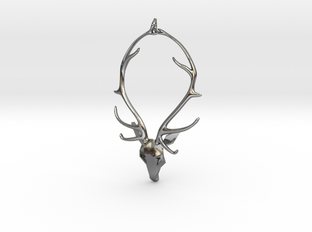 Staghead Pendant in Polished Silver