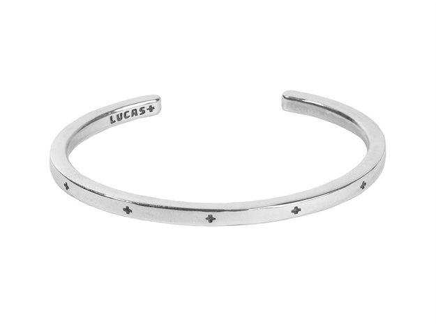 Plus Cuff  in Polished Silver: Large