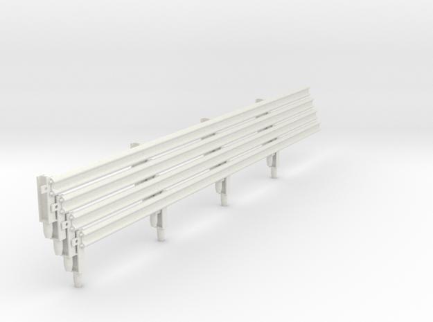 Armco Rail on 4  I-Beam Posts, 4 pcs in White Natural Versatile Plastic