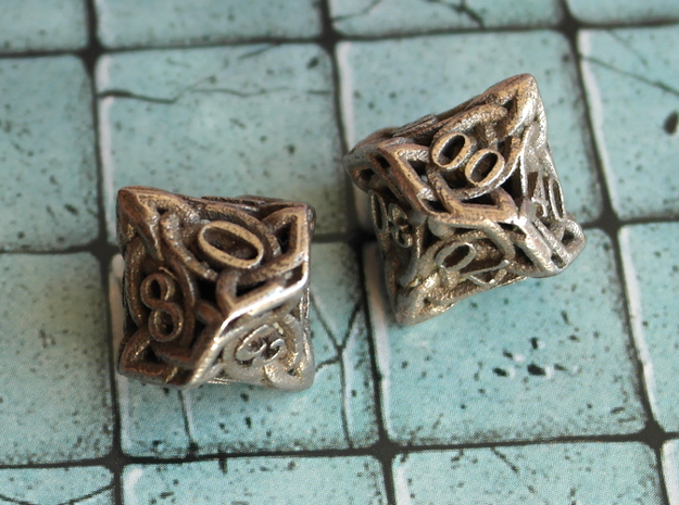 Celtic Percentile D10, D100 Two Dice Set in Polished Bronzed Silver Steel