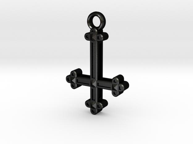 Inverted Cross Charm in Matte Black Steel