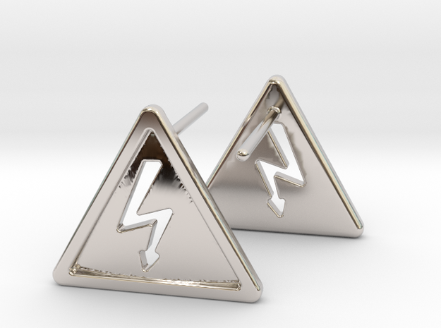 High Voltage Earrings in Rhodium Plated