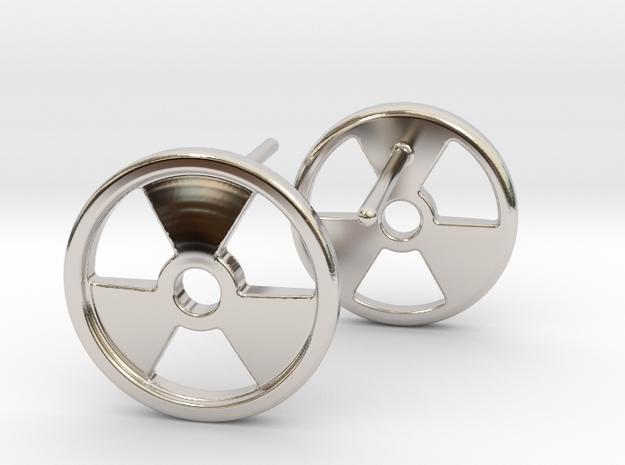 Nuclear Hazard Earrings in Rhodium Plated Brass