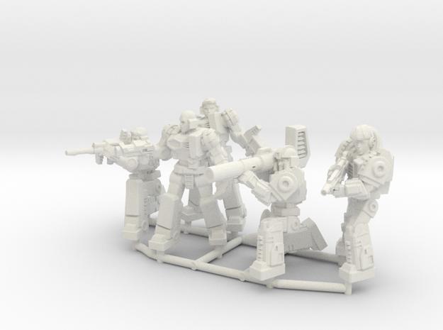 Diaclone Combat Squad, 5 35mm Minis in White Natural Versatile Plastic