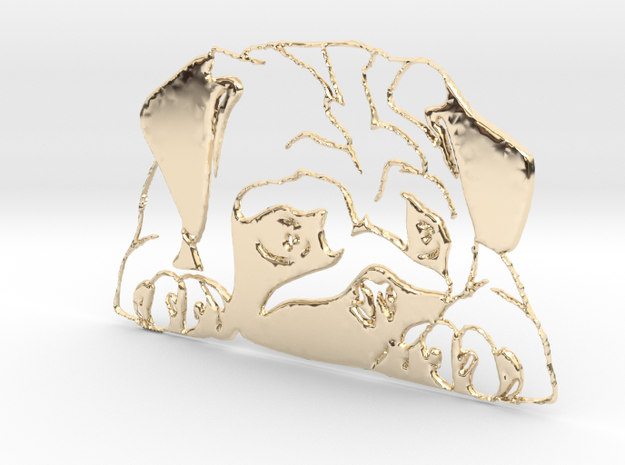 "Mops ""liegend"" in 14k Gold Plated Brass"