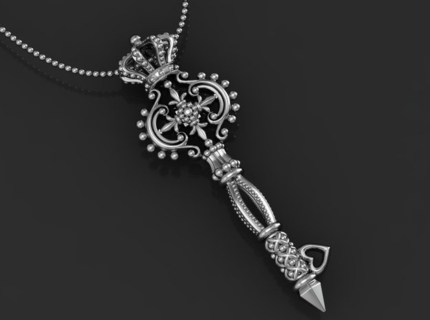 Key  Pendant in Polished Silver