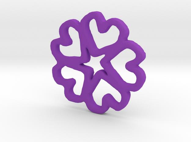 Fivehearts Pendant in Purple Processed Versatile Plastic