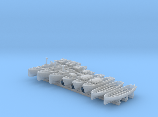 1/500 WW2 RN Boat Set 4 with Mounts in Smooth Fine Detail Plastic