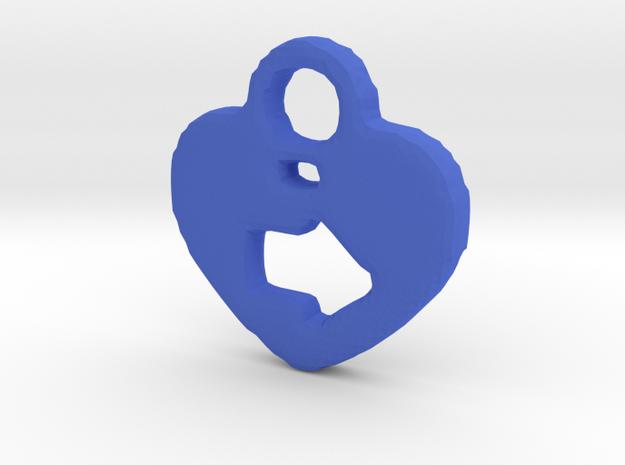 Heart Arrow Tag/Pendant in Blue Processed Versatile Plastic