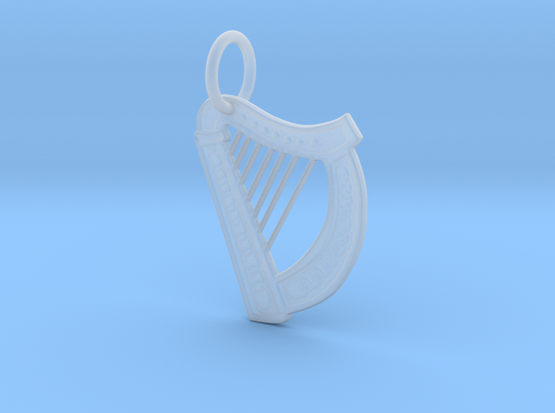 Celtic Harp Keychain in Smoothest Fine Detail Plastic