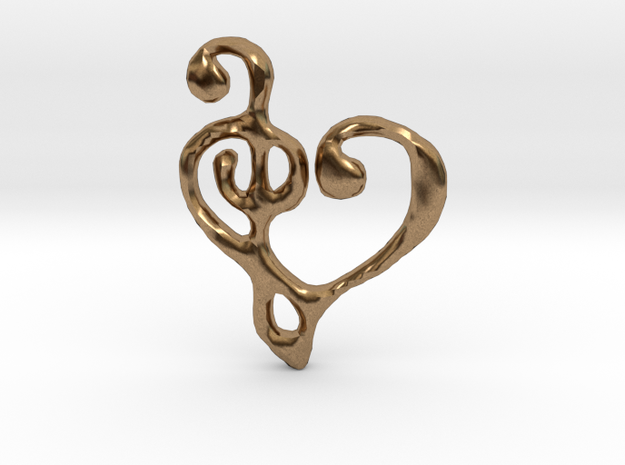 Music Heart Pendant in Natural Brass