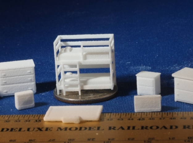 Bedroom with Bunk Beds HO Scale in White Strong & Flexible