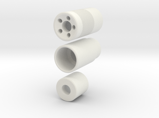 Muzzle Device Part 1 And 2 V4 in White Strong & Flexible