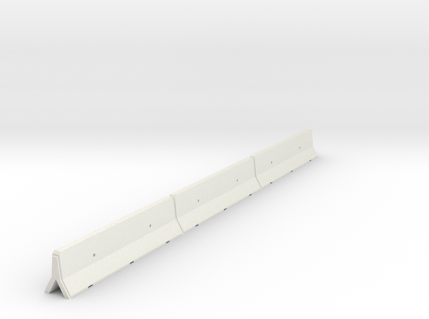 OO Scale Concrete Motorway Barrier 12m long in White Natural Versatile Plastic