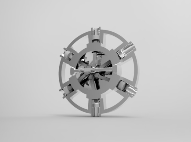 A Radial Engine in White Natural Versatile Plastic