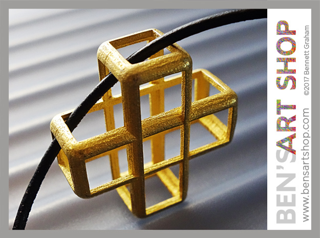 Cross Blocks Pendant in Polished Gold Steel
